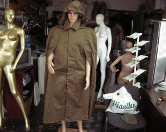 Vintage 1980's Army Green Impregnated Canvas Cloak - NEW