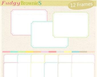 ON SALE frame clip art,Digital frame,rectangle Frames clipart,soft colour,digital ,thin frames, birthday frames.A-117 , Instant Download