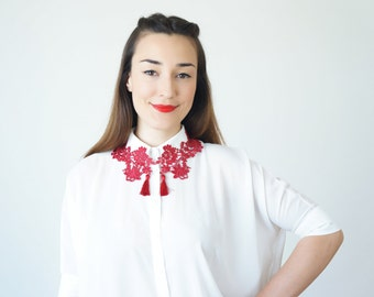 Burgundy Lace Collar Tassel Necklace Statement Necklace Lace Necklace Girlfriend Gift For Her Summer GiftCustom/ POLLEIN