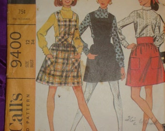 1960s 60s Vintage Bib Jumper n Full Skirt w Wide Waistband n Long Sleeve Blouse COMPLETE McCalls Pattern 9400 Bust 34 Inches 87 Metric