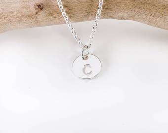 Initial Disc Necklace | Letter Necklace | Personalized Disc | 925 Sterling Silver Necklace | Engraved Necklace | Personalised Gift for Her