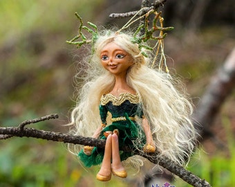 Missie OOAK Dollie - Deer Girl Art Doll - Polymer Clay Sculpture - Posable Doll Ornament Animal Spirit Fantasy