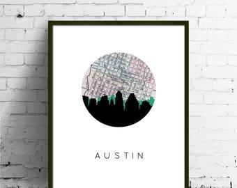 Austin, Texas wall art | Austin skyline print | Austin map art | Austin, Texas map print | city skyline prints | city skyline art