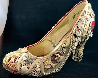 Jeweled Shoe, Vintage jewelry covered shoe makes a unique gift. Completely covered with repurposed jewelry.
