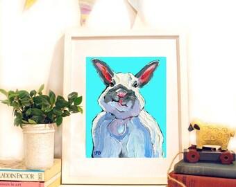 Bunny Rabbit Print, Rabbit Painting, White Rabbit Art with Attitude, Nursery Art 10 x 8 by Jemmas Gems