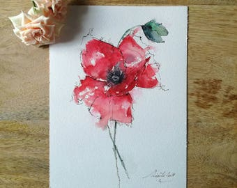 Watercolor poppies, original watercolor painting, floral watercolor, watercolor flowers deco unique original poppies