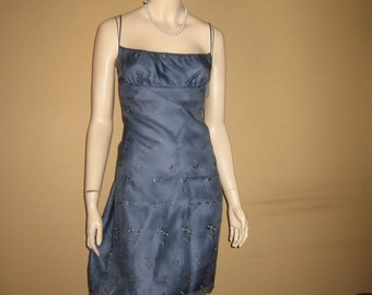 UNWORN Vntg LAUNDRY Shelli Segal Dress Bust 34 Blue Chiffon Overlay Embroidery Sequins Made in USA