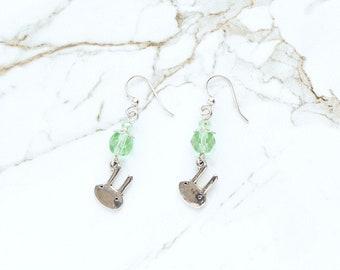 Easter Earrings, Silver Rabbit Earrings, Light Green Earrings, Cute Bunny Earrings, Easter Basket Stuffer, Green Glass Crystal Earrings