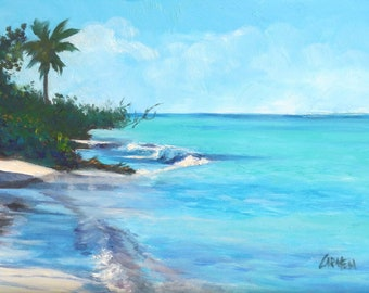 Beach Paradise, 9x6 Oil Painting on Canvas Panel, Seascape Daily Painting