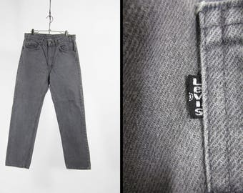 Vintage Levi's Black Denim Jeans 505 Black Tab Straight Leg Made in USA - 32 x 30