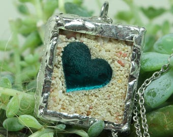 Beach pendant Bermuda pink sand Soldered glass pendant Blue Heart