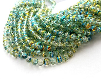 8MM Clear, Gold, Blue Glass Beads | Set of 50 Beads