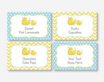 Instant Download, Editable Rubber Duck Food Labels, Duck Baby Shower Food Labels, Duck Food Tags, Buffet Card, Duck Printable,Yellow(SBS.67)