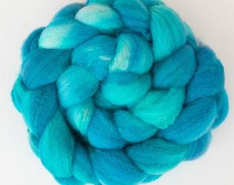 Hand dyed Shetland, Tussah silk, 122g, Hand dyed roving, fibre, fiber, felt, spindling, felting materials, felting projects