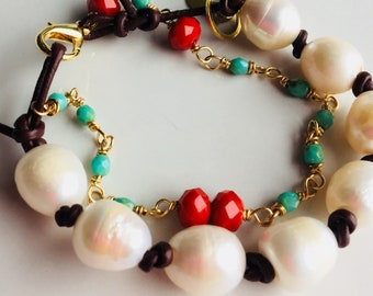Mixed Beaded Pearl Bracelet, Leather and Pearls, Czech Glass Beads, Seagreen Beads, Red Orange Beads, Brass Findings, Etsy, Etsy Jewelry