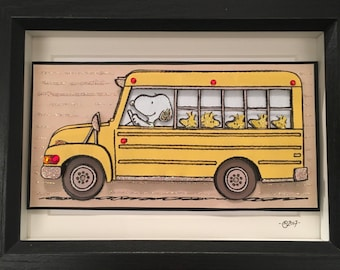 Snoopy and Woodstock - Off to School - 3d Pop Up Art Picture