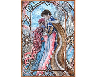 """Winter love - 10,63"""" x 7,48"""" or 15,35"""" x 11,1"""" Print, love fairytale illustration winter signed print lovers"""