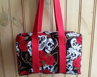Handmade skull and roses handbag bowling bag