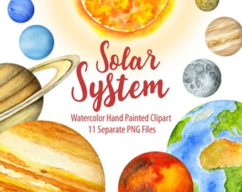 Watercolor Solar System, Planets, Universe. Home decor, wall art, digital prints, printable art, Room Decor. Hand painted graphic, post card