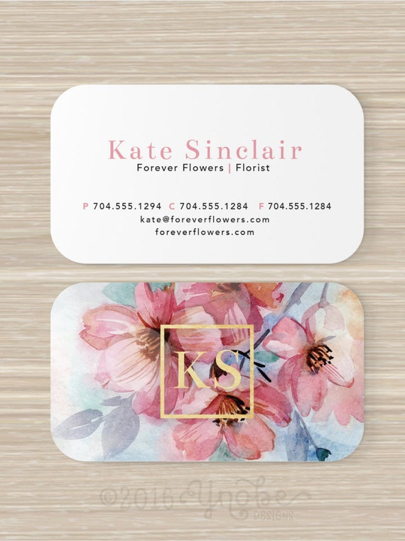 floral business card faux gold foil florist flowers pink. Black Bedroom Furniture Sets. Home Design Ideas