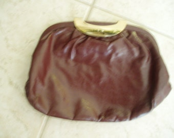 Mad Men Brown Theodor Signed Leather, Hand Bag  Clutch, pocket book  1950's to 1960's Purse