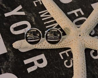 Cufflinks, Cuff Links, Custom Cufflinks,Sterling Silver Plated, Antique Car, Antique Car Cufflinks, Glass Bezel Cufflinks