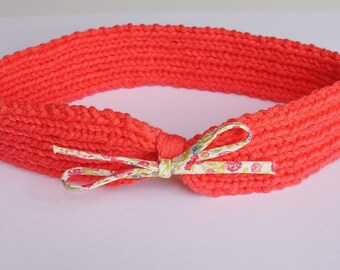 6-18 months: headband / headband hand knitted coral color cotton