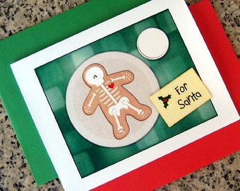 gingerdead man cookie for santa christmas cards / notecards / thank you notes (blank/custom inside) with red/green envelopes - set of 10