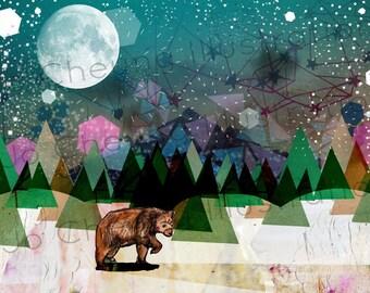 Alone Fine Art Print - Bear Artwork - Print for Children - Print for All - Nature - Forest - Midnight - Wall Art - Home Decor - A4 A3 Print