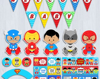Superhero Baby Shower | Etsy