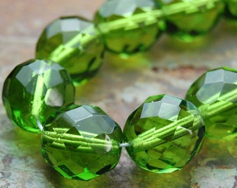 10mm Czech Beads Faceted  in Olivine Green -10