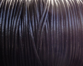 2mm Black Leather Cord  -  2 Yard Increments