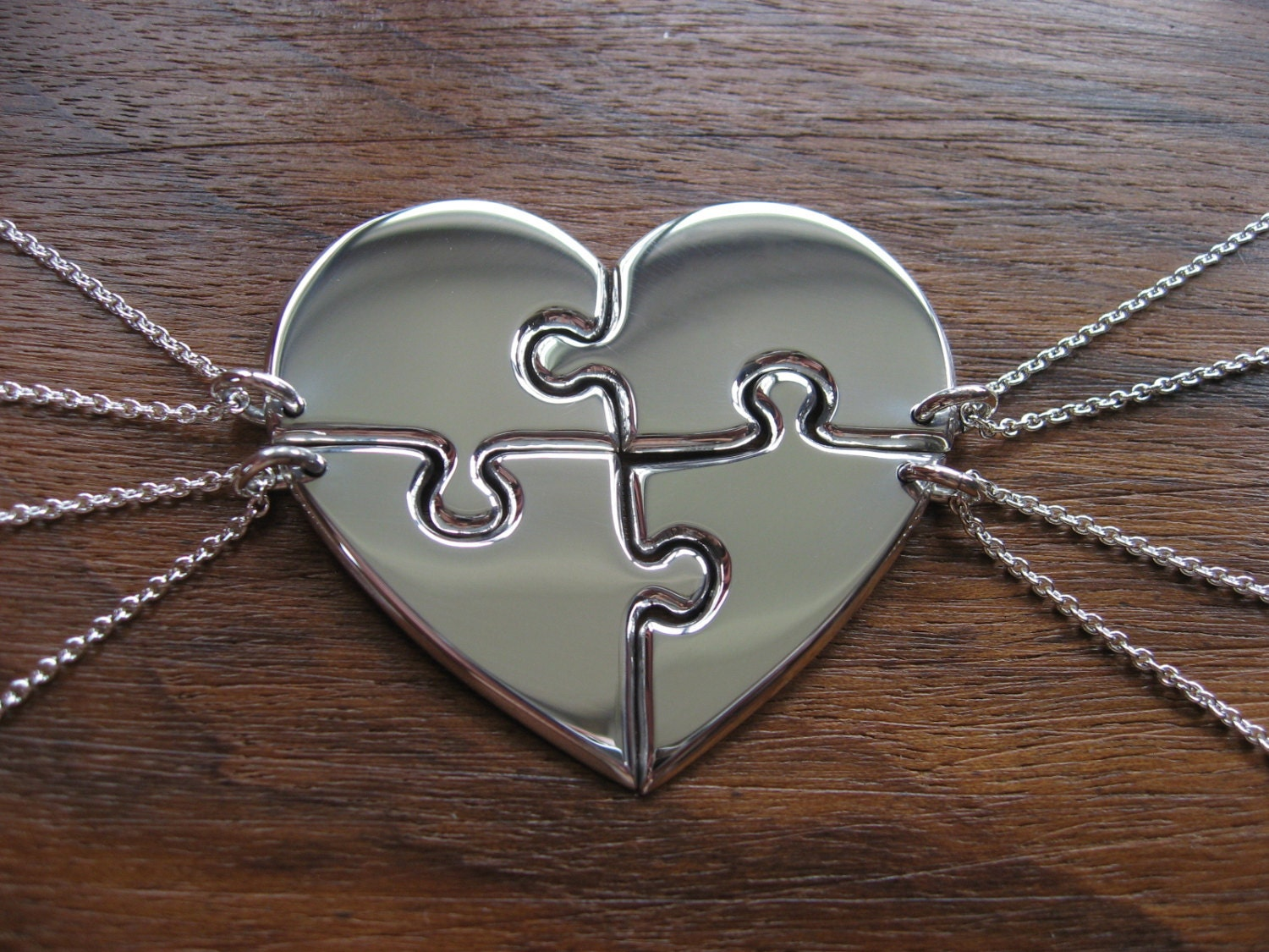 Four Piece Heart Puzzle Pendant Necklaces