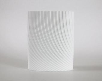 Mid Century Architectural  Elegant Oval White Bisque Porcelain Vase - Agatha Waltz for Rosenthal , 1960s
