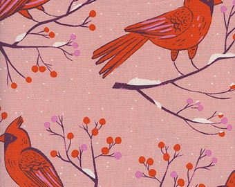 Pre-order: Winter Cardinals in Pink by Sarah Watts from the Frost collection for Cotton and Steel #C5185-02 by 1/2 yard