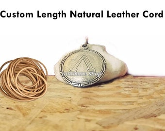 Spartan Shield Pendant Leather Cord King Leonidas Necklace Pendant, Gift for Men / Custom Length Natural Leather Cord