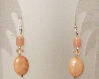 Pink Peruvian Opal Dangle Earrings, Handmade Jewelry, Pink Peruvian Opal Gemstones, Healing Gemstones, Spring Pink Earrings, Pink Gemstones