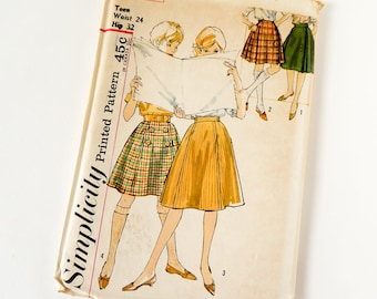 Vintage 1960s Womens Skirt, Bandstand Skirt and Kilt in Two Lengths Simplicity Sewing Pattern 4109 FACTORY Folds / waist 24 hip 32