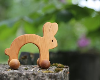 Wooden Toy Organic toy Waldorf Wood Animal Toy Natural Bunny Push Toy for Babies and Toddlers Montessori Eco Friendly