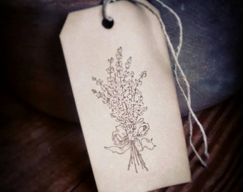 Rustic Lavender Bundle, Hand Stamped gift tags, set of 12