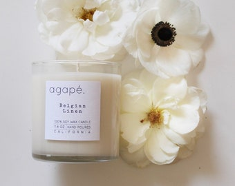 BELGIAN LINEN, soy wax candle, soy wax, soy candle, fresh candle, clean candle,  Agape Candles