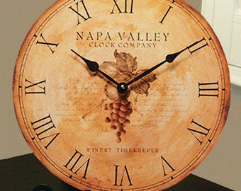Napa Valley Vineyard Antique - Style Clock