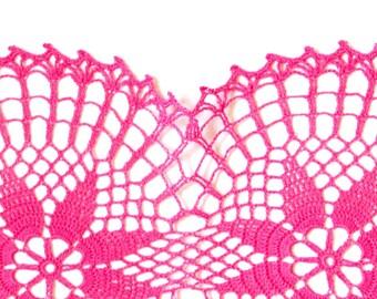 Pink fuchsia oval Crochet doily  hand dyed Vintage Doily