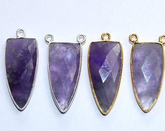 28mm natural Amethyst faceted dagger pendant / Silver Plated / Bezel Set rubyzoisite Dagger Charm - Dagger Connector (Pick Finish & Style