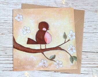 Neue Baby-Karte - Frühling Robin Druck leer innen 5 x 5 Zoll (127 x 127 mm)