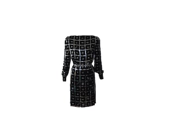 Vintage Arnold Scaasi Black and Silver Crystal Cocktail Dress 1980s