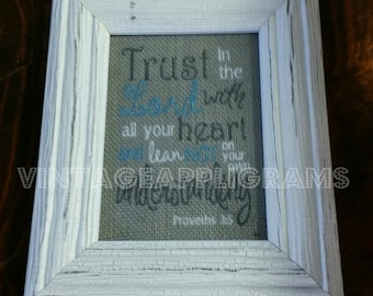 Burlap Scripture Signs Bible Verse Wedding Gift Embroidered Burlap Signs Gift Trust In The Lord With All Your Heart  Proverbs 3:5