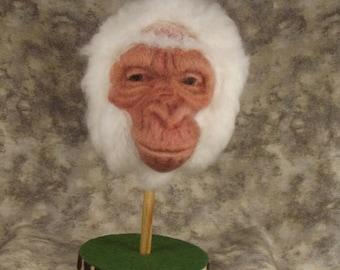 Needle felted Animal, Needle felted Gorilla, Needle felted Albino Gorilla, Needle felted Gorlla Head, Needle felted sculpture