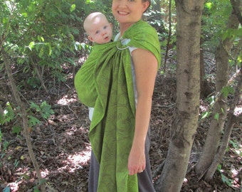 Wrap Conversion Ring Sling Baby Carrier -  Little Frog Jacquard Echo Forest -  Gathered Shoulder - DVD included baby shower