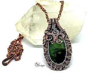 green jade pendant, wire wrapped pendant, silver pendant, boho pendant, birthday gift, jade jewelry, copper jewelry, jade necklace